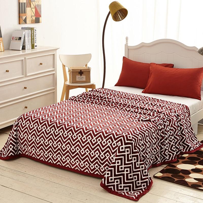 Arnigu Soft Summer Blankets Plaid Printing Red Flannel Fleece Blanket Chair Sofa Throws Winter Bed
