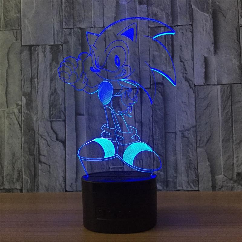 Tobyfancy Anime Sonic The Hedgehog Figure 3D Led Table Lamp Flash Effect Colorful Acrylic Visual Illusion USB LED Lights
