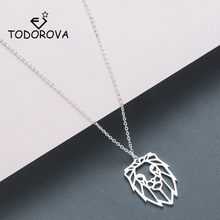 Todorova Origami Lion Men Necklace HipHop Lion Head Charms Pendant Necklace Geometric Jewelry Animal Zodiac Necklace Accessories(China)