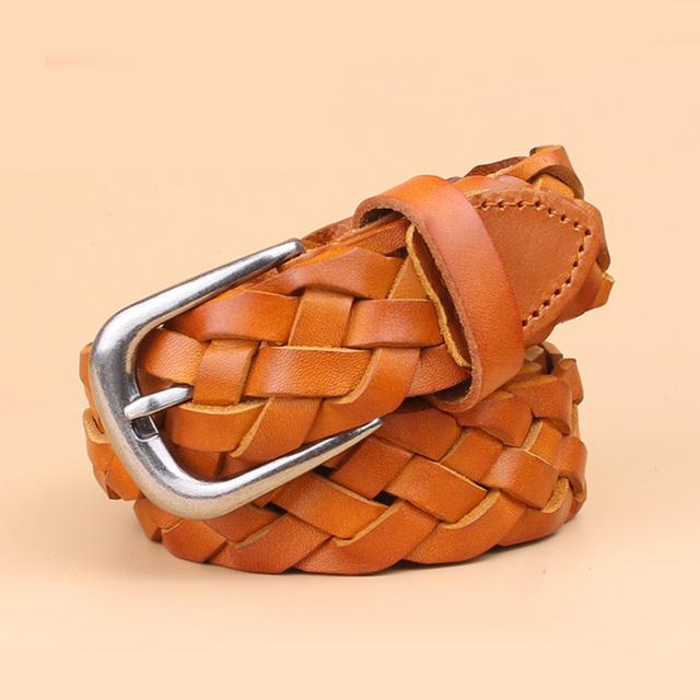 hot fashion luxury designer Weaving belt women high quality full grain real genuine leather girdle breathable belt for jeans