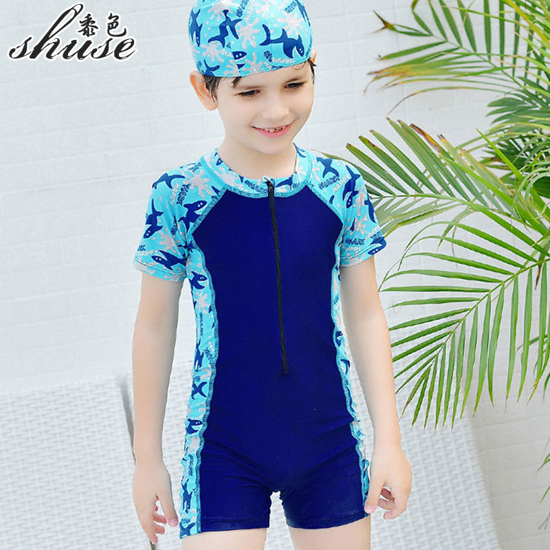 Hot Sale Boys One Piece Swimsuit With Cap Children Summer Swimwear Kids Beach Suits With Swimming Cap Anti- UV Bathing Suits