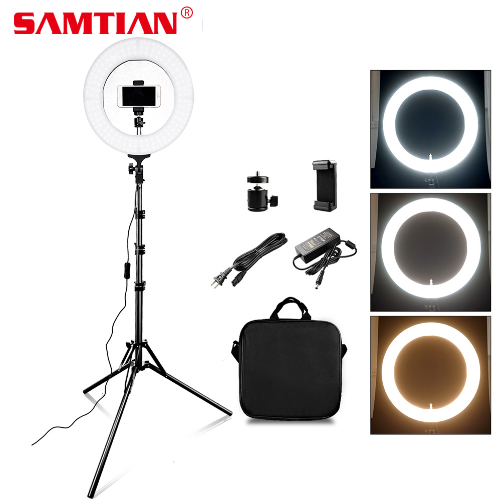 SAMTIAN RL-12A LED Ring Light Dimmable Bi-color 384PCS 12 Annular Lamp For Studio Photo Video Photography Lighting ring lampSAMTIAN RL-12A LED Ring Light Dimmable Bi-color 384PCS 12 Annular Lamp For Studio Photo Video Photography Lighting ring lamp