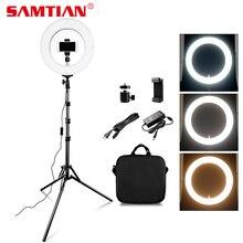 SAMTIAN RL-12A светодиодный кольцо свет затемнения двухцветный 384 шт 12 «круглая лампа для фото-студия видео фотографии освещения кольцо лампы