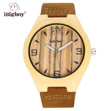 IBigboy Hombres Reloj de pulsera Para Las Mujeres Marca de Relojes de Madera De Madera Zebrano Clásico Reloj de Movimiento de Cuarzo Banda de Cuero Unisex