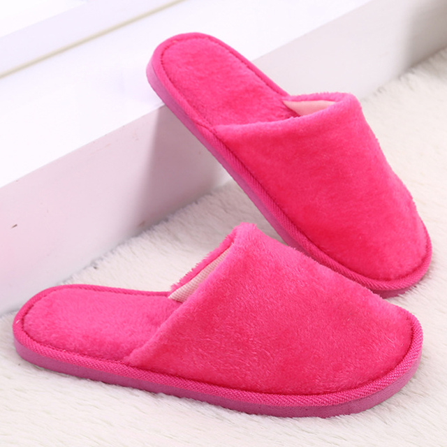 Light women slippers velvet shoes solid candy colors 2017 trendy winter short plush faux fur indoor home slippers