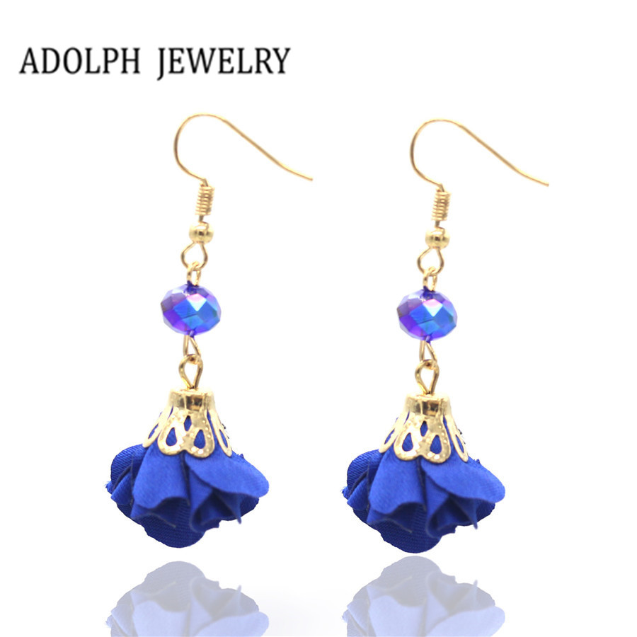 ADOLPH Jewelry Best Gift For Woman 2017 New Design Earring Bending Hook Gem Beauty Cloth Roses Drop Earrings Wholesale Hot Sale