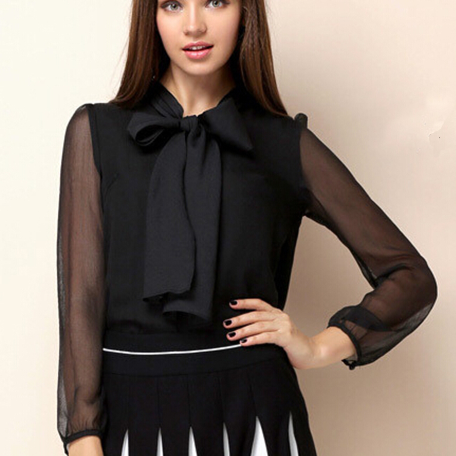 Black Organza See Through Long Puff Sleeves Chiffon Blouse Elegant Big Bow Neck Slim -8038