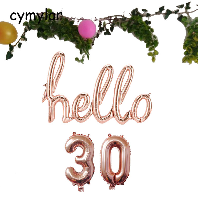 """/""""Hello 30/"""" Gold Script Foil Balloon Number Balloons Birthday Party"""