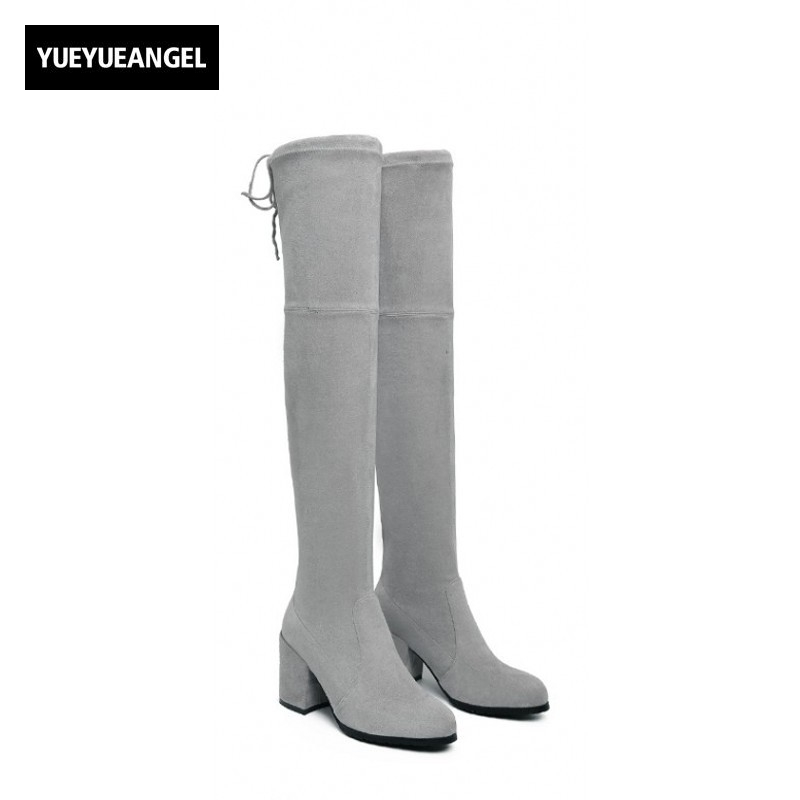 New Arrival Over Knee Boots Women Fashion Winter Boots Woman Shoes Autumn Slip On Thick Heel Thigh High Boot Female Motorcycle