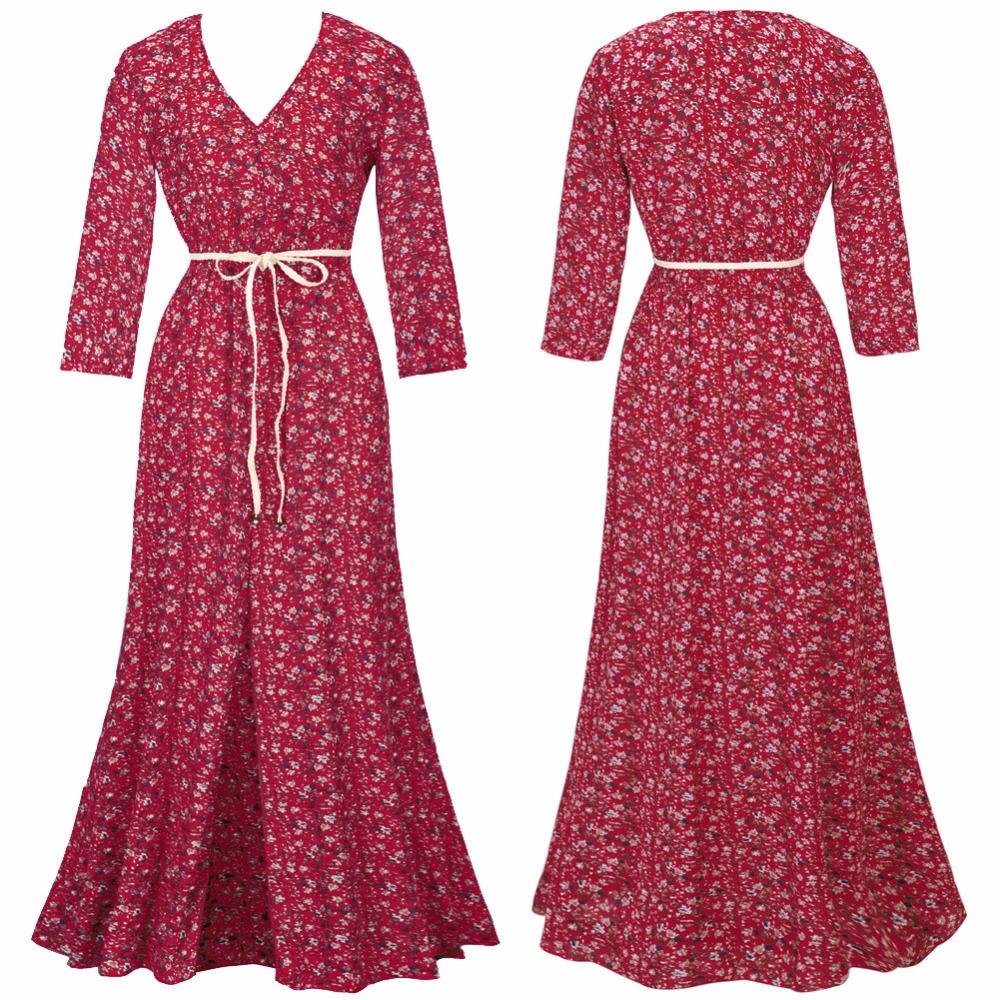 c6dae3262d2 Telotuny Printed autumn Floral Boho Long Sleeve women dress maternity  dresses photography props elegant party dress oct 8-in Dresses from Mother    Kids on ...