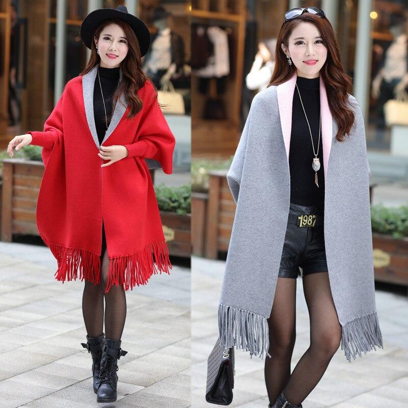 2016 New Fashion Women Casual Korea Loose Shawl Batwing Sleeves Lady Knit Sweater Coat Woolen Women Cardigans Jacket 167-100F