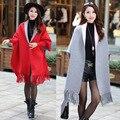 2016 Nuevas de La Manera Mujeres Ocasionales de Corea Del Chal Suelto Batwing Mangas Mujer Abrigo Suéter de Punto de Lana Mujeres Cardigans Chaqueta 167-100F