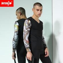 New Intouch men's long johns thermal underwear seamless V-neck slim print long johns set 2colors size M/L/XL/XXL