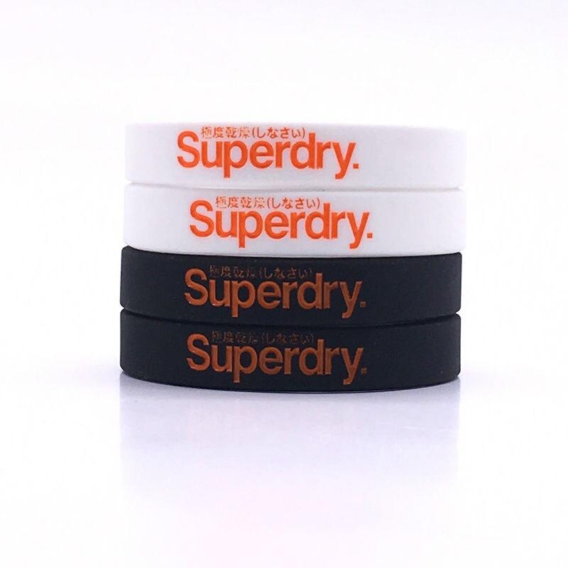 'Superdry' silicone bracelets Printed letter rubber band Soft rubber bangleBlack white color silicone wristband