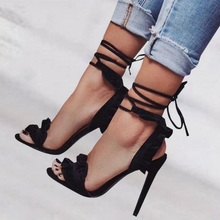 Ladies Sandals Black White Lace-up Slingback Ruffles High Heels Shoes Ankle Strap Party Ladies Pumps Gladiator Heels Shoes lace up designer european high heels ankle strap beige strappy denim 3 inch round toe sandals blue slingback pumps canvas wedge