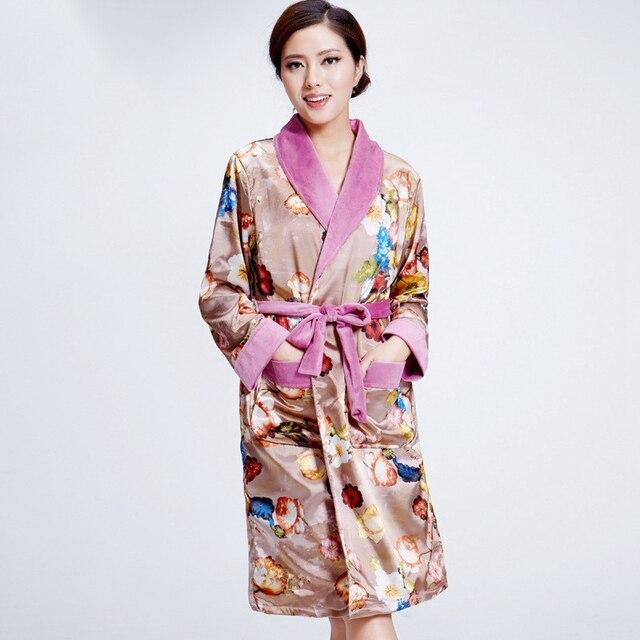 Femmes De Mesdames Long Peignoir Kimono Plus Épais Flanelle Robe 6bY7gyfv
