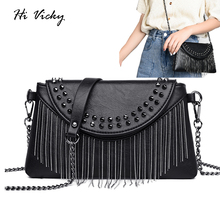купить Brand Designer Women Bending Messenger Bag Rivet Crossbody Soft PU Leather Shoulder Bag High Quality Fashion Women Bags Handbags по цене 1099.41 рублей
