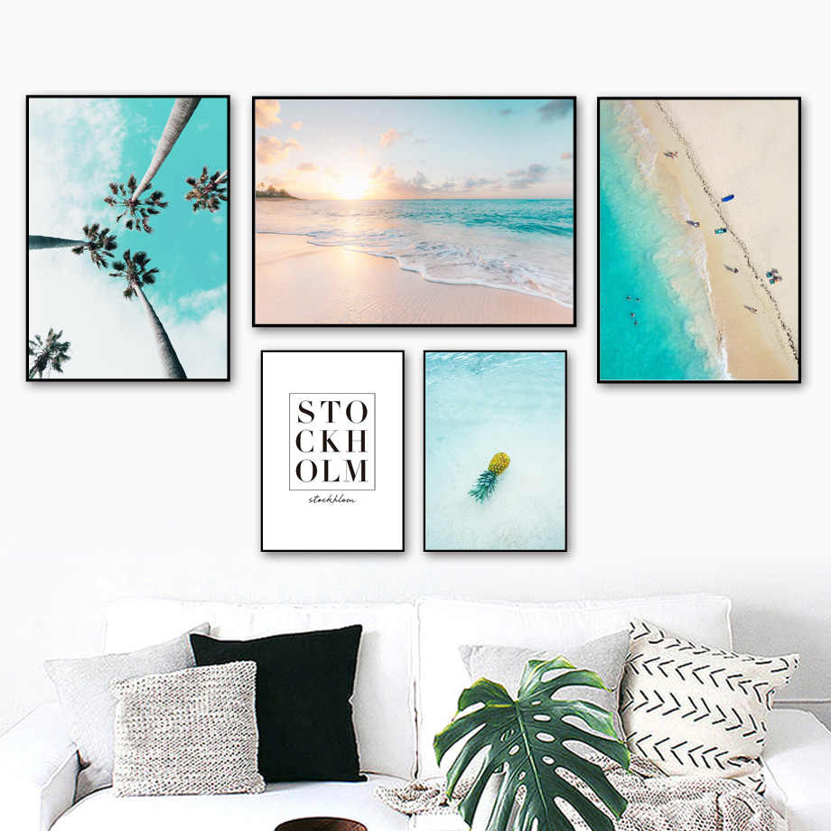 sea beach Palm Tree Quotes Seascape Wall Art Canvas Painting Nordic Posters And Prints Wall Pictures For Living Room Home Decor