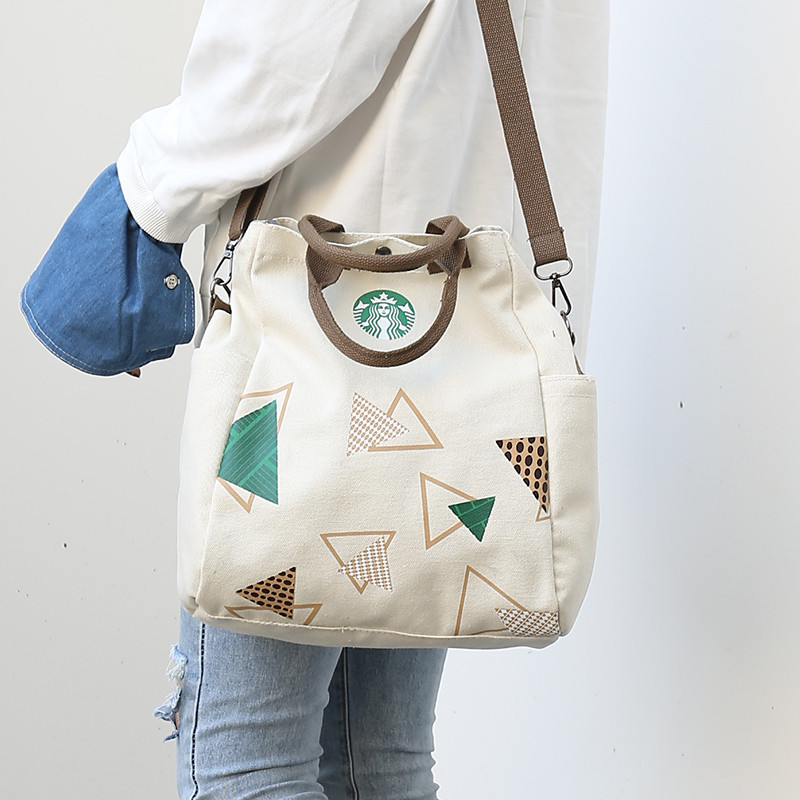 Canvas Bag Multifunction Bags Shoulder Printing Dual Bucket Bag Student Drawstring Bag