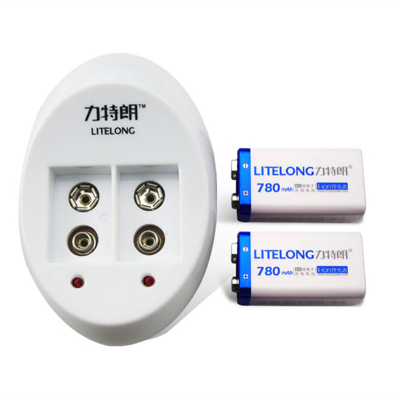 2pcs 9v Rechargeable 780mAh Lithium ion Battery 1PCS Smart Charger with Adapter