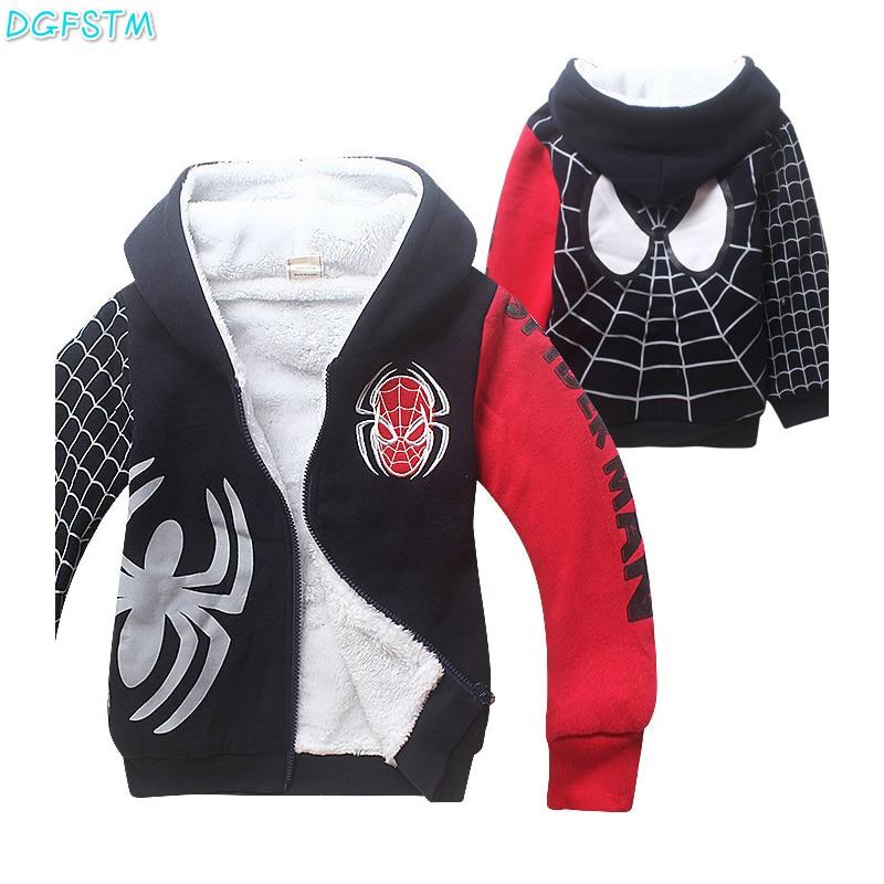 2017 New Baby Boy Clothes Winter Boys Spiderman Hoodies & Sweatshirts Kids Boys Clothing Cartoon Casual Clothing boys clothes boy clothing excavator 100
