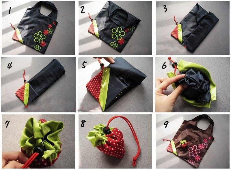 500 stücke Tragbare Nette Eco Wiederverwendbare Speicher paket Tote Folding Faltbare Erdbeere Tasche hause-in Faltbare Taschen aus Heim und Garten bei  Gruppe 2