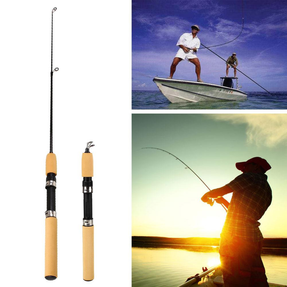 Telescopic Travel Fishing Rod Spinning Feeder Tackle Pole Equipment 65cm