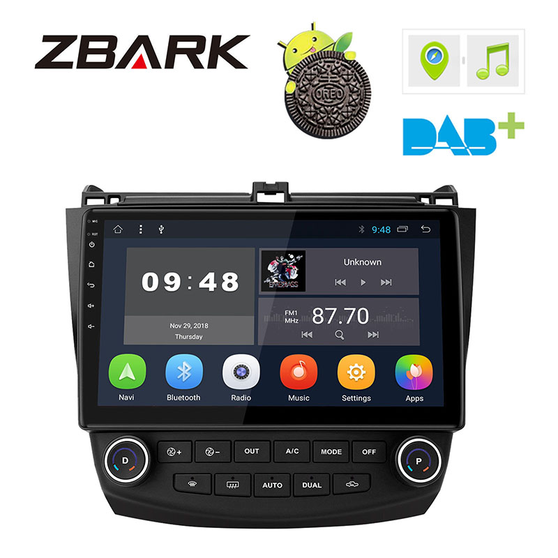 10.1 inch Android 8.1 Car <font><b>Stereo</b></font> Radio Player WIFI OBD DAB RDS GPS for <font><b>Honda</b></font> <font><b>Accord</b></font> 2002 <font><b>2003</b></font> 2004 2005 2006 2007 NO DVD YHLYG1A image