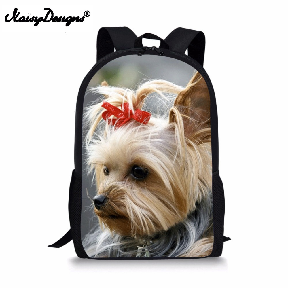 Cute Yorkshire Terrier Pattern Women Large Backpack 3D Animals Cute Dog Print Children Shoulder Bags Set Moshilas Schoolbags