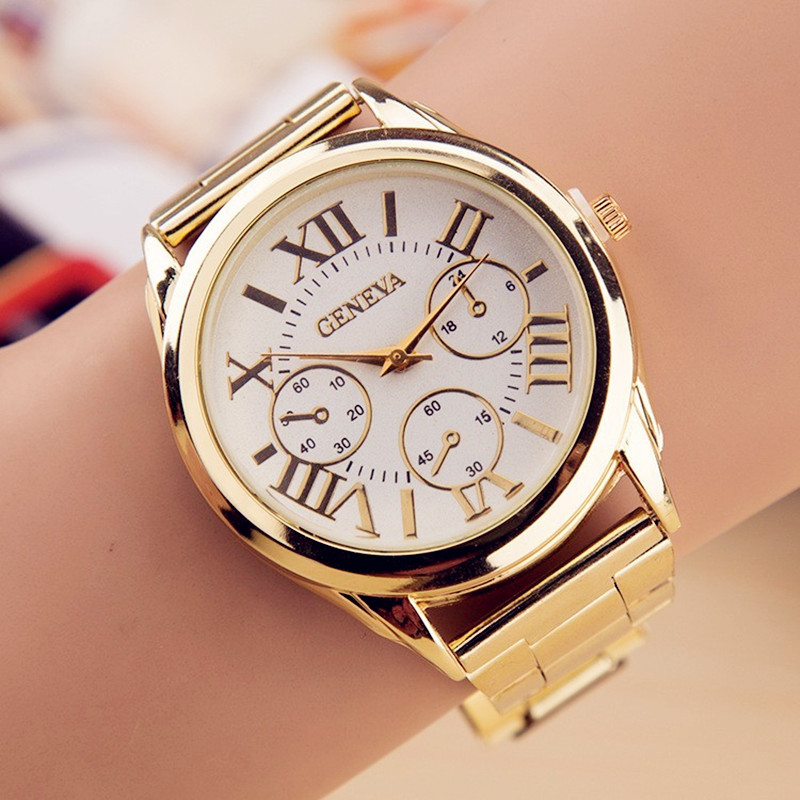 2017 New Brand Relogio Feminino 3 Eyes Gold Geneva Casual Quartz Watch Women Stainless Steel Dress Watches Clock reloj mujer new luxury brand dqg crystal rosy gold casual quartz watch women stainless steel dress watches relogio feminino clock hot sale