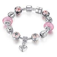BK Silver Charm Bracelet With Heart Pendant Cherry Blossom Charm Pink Murano Glass Beads Friendship Bracelet