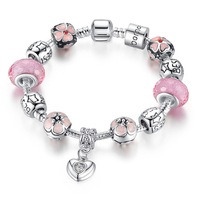 BK Silver Charm Bracelet With Heart Pendant Cherry Blossom Charm Pink Murano Glass Beads Friendship Bracelet