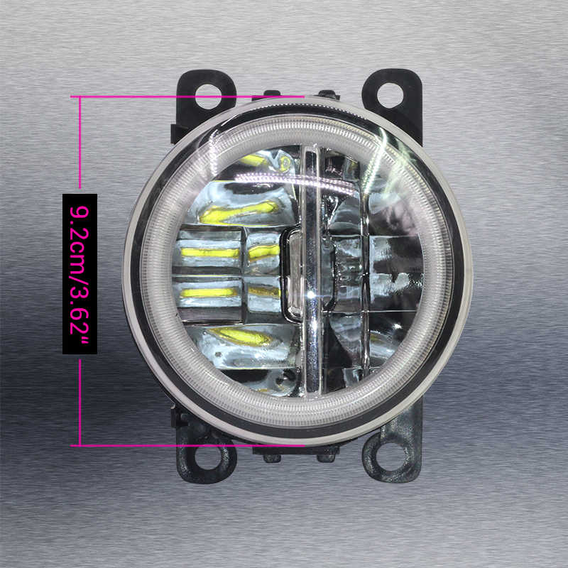 Cawanerl Car H11 4000LM LED Fog Light + Angel Eye DRL Daytime Running Light 12V Accessories For Peugeot 308 2013-2018