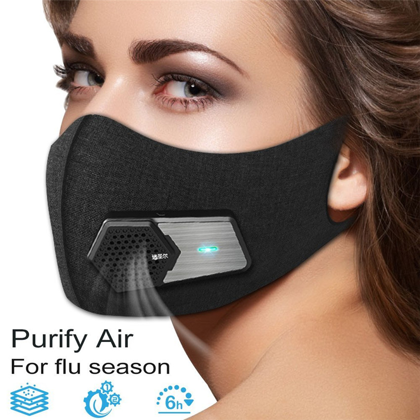 Outdoor Fresh Air Supply Smart Electric Mask Air Purifying Mask Anti Pollution Anti Exhaust Gas/Pollen Allergy/PM2.5 Run/Cycle super defense nose nasal filters massage reduce pollen dust dander mold allergens allergy air pollution pm 2 5 health care