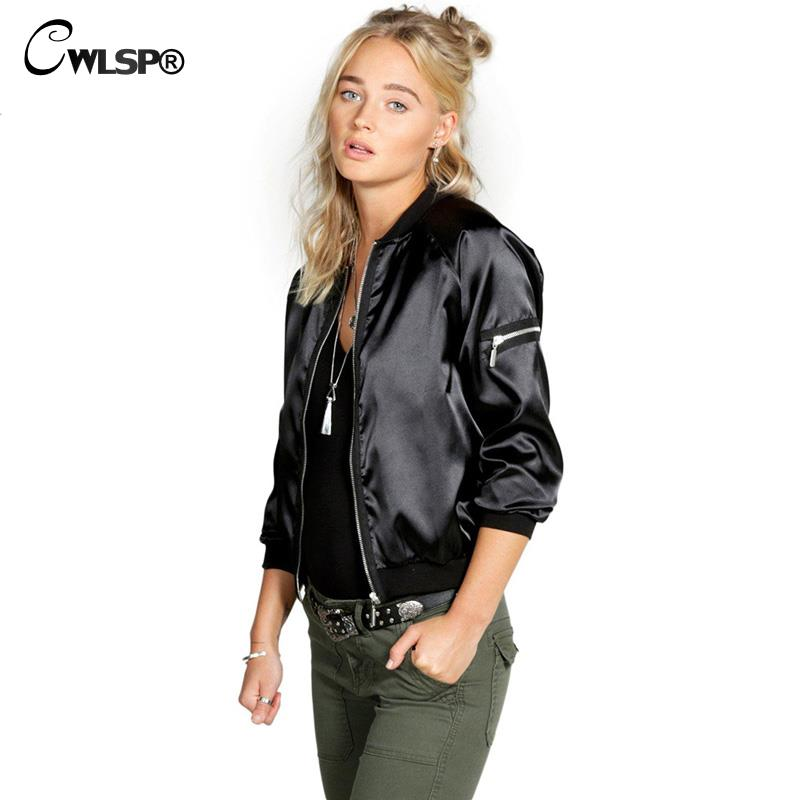 CWLSP Musim Gugur Satin Bomber Jaket untuk Wanita Coats Zipper Lengan - Pakaian Wanita - Foto 3