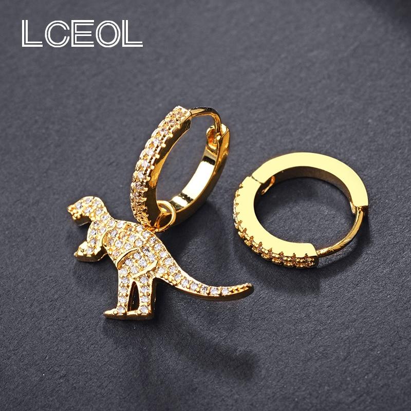 2626b9e9716294 LCEOL Monaco Brand Gold Color AAA Zircon Animal Dinosaur Asymmetric Earrings  for Women 925 Sterling Pin Jewelry Drop Earring-in Drop Earrings from  Jewelry ...
