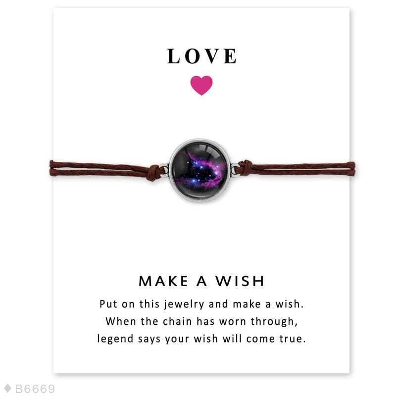 Space Galaxy Universe Starry Nebula Card Bracelets Gem Star Moon 18mm Glass Cabochon Charm Jewelry Women Men Gift Drop Shipping