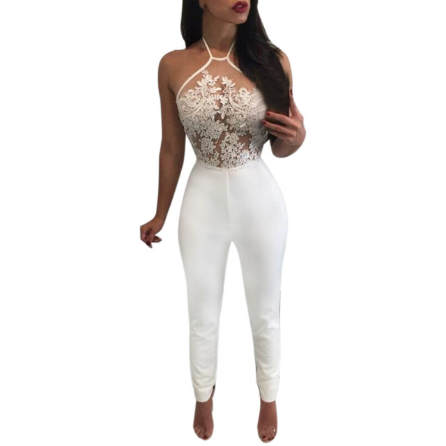 Feitong Womens New Sexy See Through Lace Jumpsuit Sleeveless Halter Backless Rompers Bodysuit Playsuit combinaison femme macacao