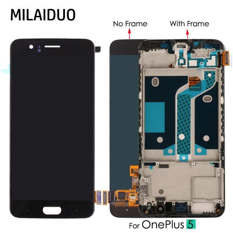 D'origine/OEM Super AMOLED Pour Oneplus 5 A5000 1 + 5 écran lcd numériseur à écran tactile OLED Assemblée Remplacement 5.5 ''Avec cadre