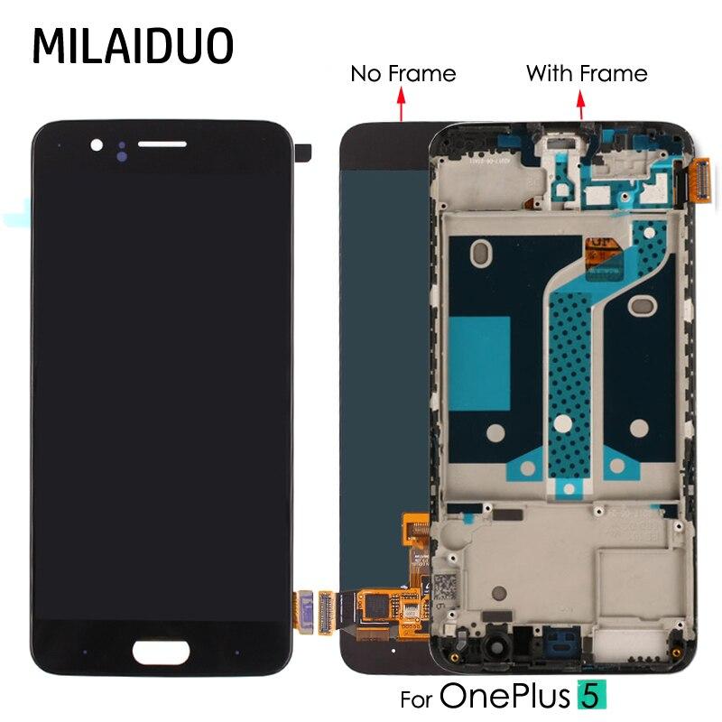 TFT/AMOLED lcd для Oneplus 5 дисплей для Oneplus A5000 кодирующий преобразователь сенсорного экрана в сборе Замена 5,5 ''черный нет/с рамкой