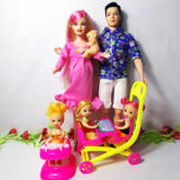 6 People Family Doll Suits Mom/ Dad/ Son Baby/ Kelly/Carriage Girls Toys Fashion Pregnant Doll Kid Toys Birthday Gift Baby Doll