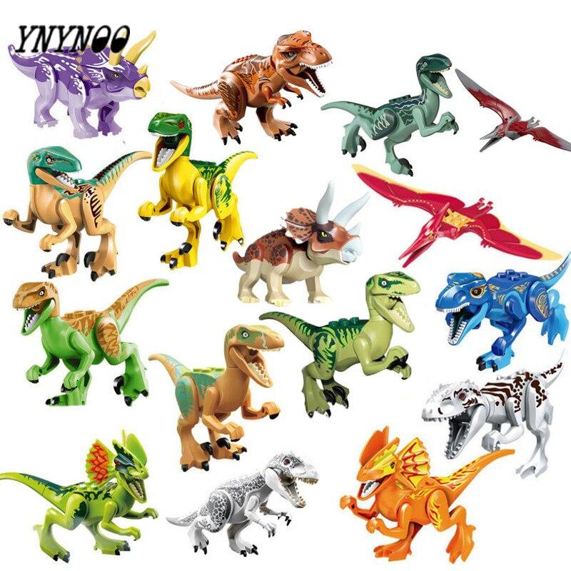 YNYNOO 16 pz/lotto Dinosauri di Jurassical Del Mondo Movie Figure di Costruzione Blocchi Modelli e Costruzione di Giocattoli Regalo Best Regali Per I Bambini