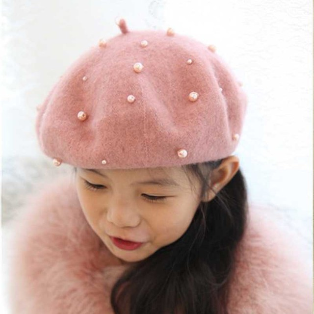 Christmas Discount Lovely Pearl Baby Girls Berets Wool Painter Cap