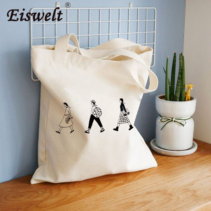 Dropshipping senhoras pano lona tote saco artesanal de algodão compras viagem feminina dobrável ombro compras shopper bolsas de tela