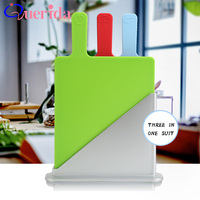3Pcs Set Plastic Non Slip Rectangle Chopping Block Cutting Board Base Category Creative Antibacterial Food Icons