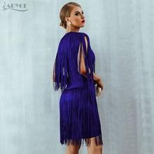 Adyce 2018 New Summer Women Bandage Dress Vestido Elegant Club Party Dress Sexy O Neck Sleeveless Tassels Mini Fringe Tank Dress