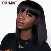 360 Lace Frontal Wig With Bangs Pre Plucked With Baby Hair 150% Brazilian Straight Lace Front Human Hair Wigs Bob Remy You May