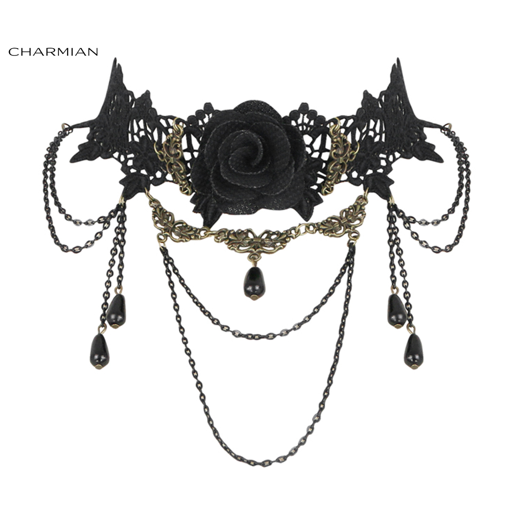 Charmian Gothic Vintage Punk Dress Up Wedding Party Tassel Lace Necklace Accessories