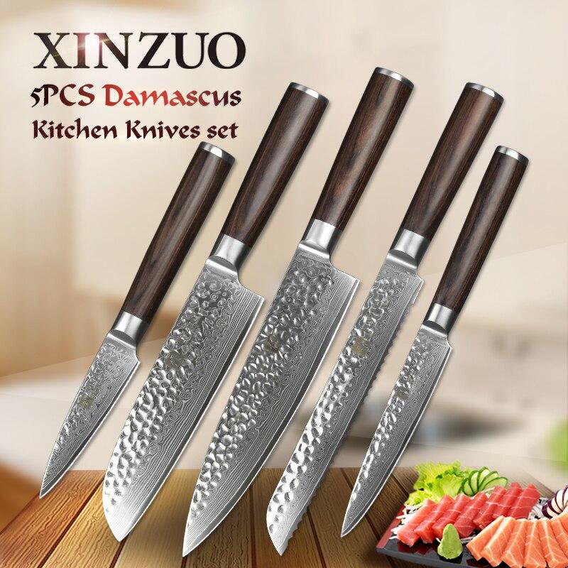 Xinzuo 5 шт. нож шеф-повара комплекты 67 слоев японского VG10 Дамаск стали кухонный нож шеф-повар Кливер хлеб нож Бесплатная доставка
