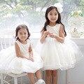 Meninas do bebê Vestido de Verão Crianças Vestido de Princesa Crianças Vestidos de Dama de honra Branco Sem Mangas Meninas Vestido de Aniversário Vestidos Traje